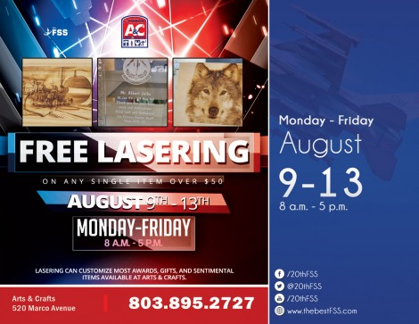 Free Lasering on any Single Item over $50
